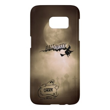 Halloween Themed Halloween Moonlight Witch Ghost Graveyard Name Samsung Galaxy S7 Case