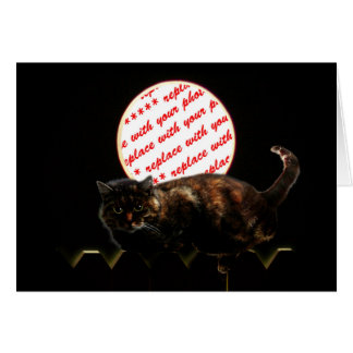 Halloween Moonlit Cat Photo Frame Card