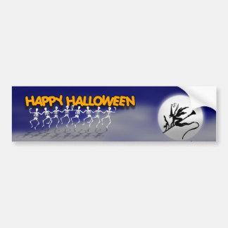 Halloween Moonlit Party Scene Bumper Stickers