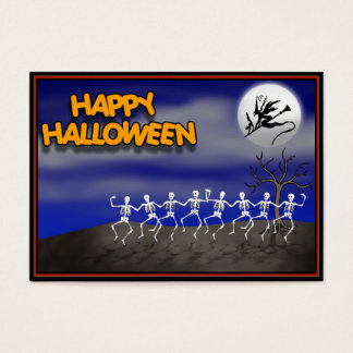 Halloween Moonlit Party Scene Business Card