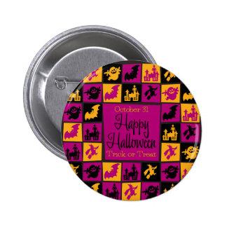Halloween mosaic pinback button