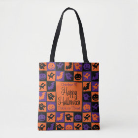 Halloween mosaic tote bag