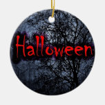 Halloween Motif Double-Sided Ceramic Round Christmas Ornament