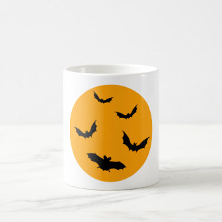 Halloween mug with moon and flying bats