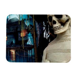Halloween Mummy and Spooky House Rectangular Photo Magnet