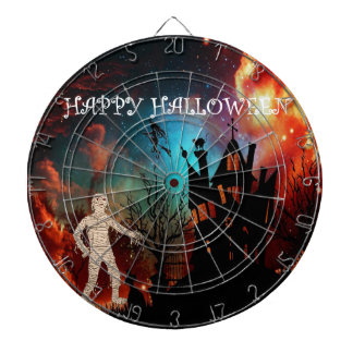 Halloween mummy at witche's house dartboard with darts