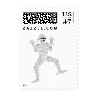 Halloween Mummy Cartoon Isolated Postage Stamp