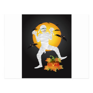 Halloween Mummy Carved Pumpkin Illustration Postcard