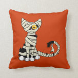 Halloween Mummy Cat Reversible Throw Pillow