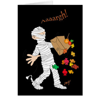 Halloween mummy costume and candy bag. card
