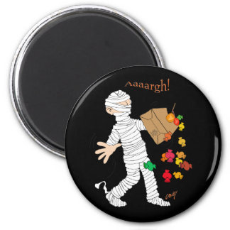 Halloween mummy  costume with candy bag. 2 inch round magnet