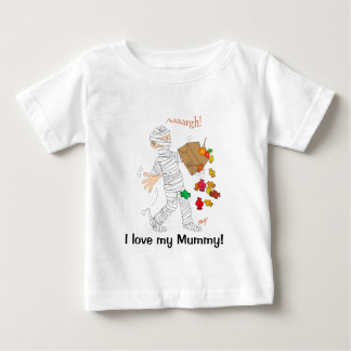 Halloween mummy  costume with candy bag. baby T-Shirt