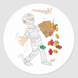 Halloween mummy  costume with candy bag. classic round sticker