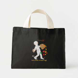Halloween mummy  costume with candy bag. mini tote bag