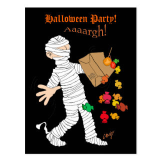 Halloween mummy  costume with candy bag. postcard