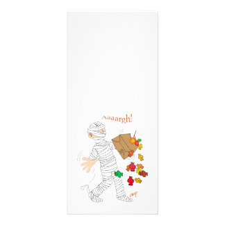 Halloween mummy  costume with candy bag. rack card
