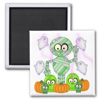 Halloween Mummy & Ghost 2 Inch Square Magnet