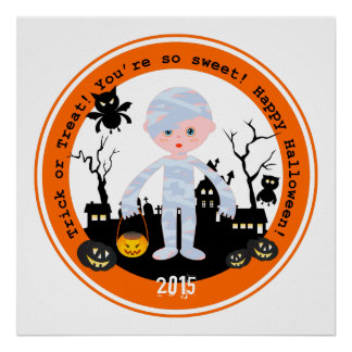 Halloween mummy kid goes trick or treating poster