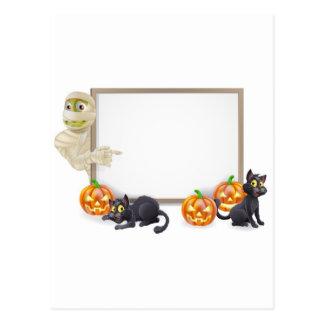 Halloween Mummy Sign Post Card