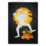 Halloween Mummy with Carved Pumpkin Greeting Card
