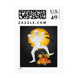 Halloween Mummy with Carved Pumpkin Postage Stamp