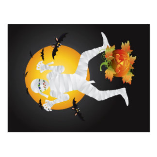 Halloween Mummy with Carved Pumpkin Postcard