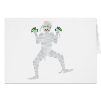 Halloween Mummy with Green Fingers Illustration Card