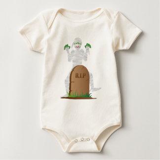Halloween Mummy with Tombstone Illustration Baby Bodysuit