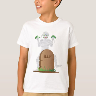 Halloween Mummy with Tombstone Illustration T-Shirt