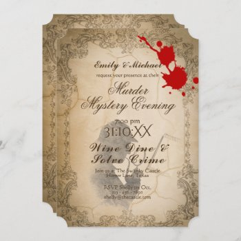 Halloween Murder Mystery Party Vintage Calligraphy Invitation