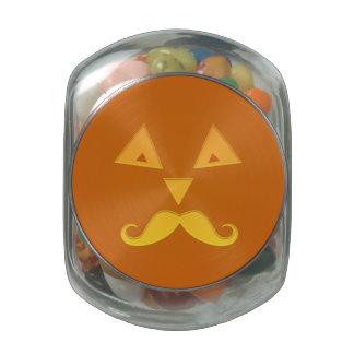 Halloween Mustache Pumpkin jars & tins Jelly Belly Candy Jars