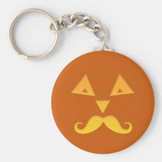 Halloween Mustache Pumpkin key chains