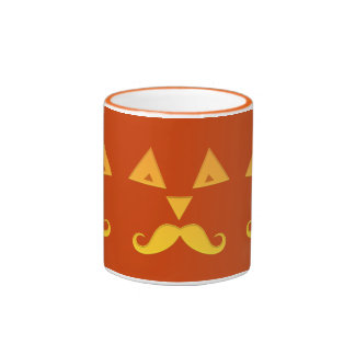 Halloween Mustache Pumpkin mugs