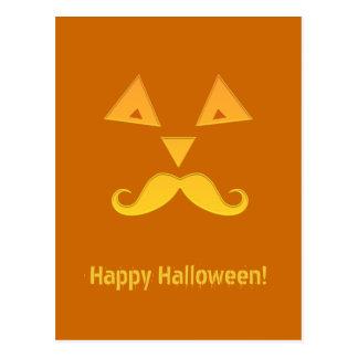 Halloween Mustache Pumpkin postcards