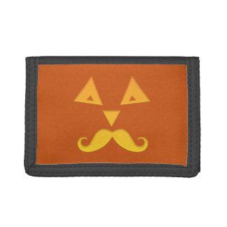 Halloween Mustache Pumpkin wallets
