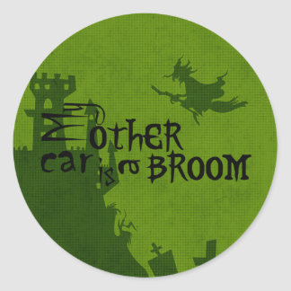 Halloween My other car is a broom Classic Round Sticker