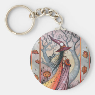 Halloween Mystic Witch by Molly Harrison Basic Round Button Keychain