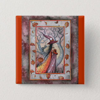 Halloween Mystic Witch by Molly Harrison Pinback Button