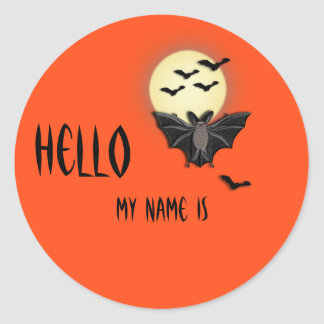 Halloween  Name Tag Classic Round Sticker