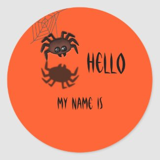 Halloween Name Tag Classic Round Sticker