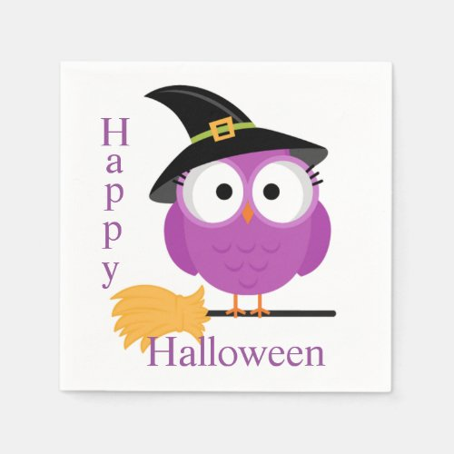 Halloween Napkin/Owl with Witch's Hat and Broom Napkin