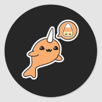 Halloween Narwhal Classic Round Sticker