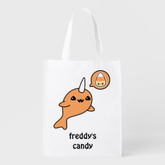 Halloween Narwhal Trick or Treat Reusable Grocery Bag