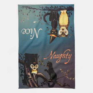 Halloween Naughty or Nice Towel - Cat and Owl