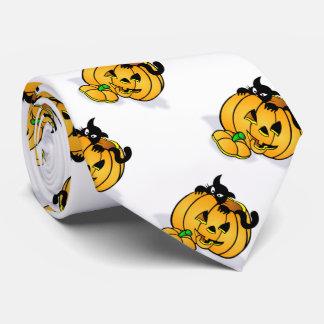 Halloween Necktie/Pumpkin and Black Cat Neck Tie