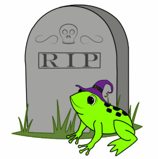 Halloween Neon Green Frog with RIP Grave Stone Photo Sculpture Button