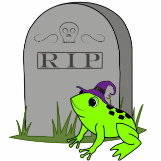 Halloween Neon Green Frog with RIP Grave Stone Photo Sculpture Ornament