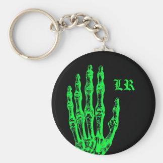 Halloween neon green zombie skeleton hand key chain