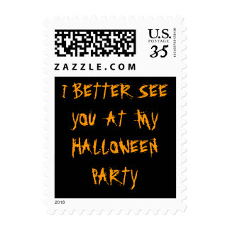 Halloween night abstract orange black box spooky postage