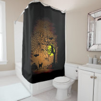 Halloween Night , Happy Halloween! Shower Curtain